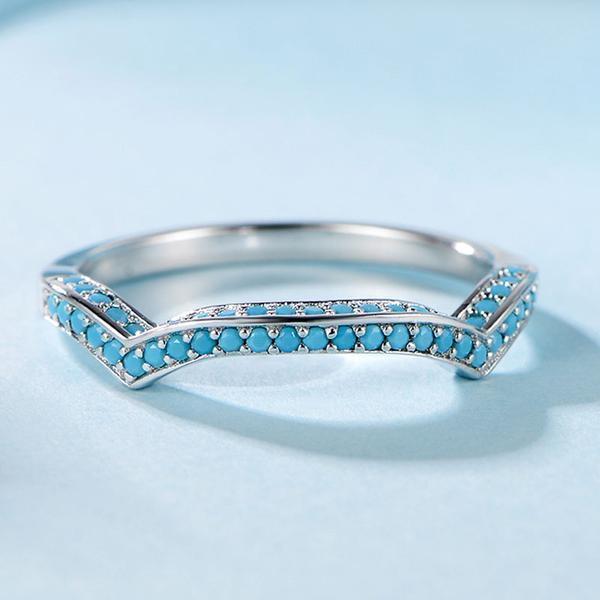Turquoise Tiny Stones 925 Sterling Silver Ring