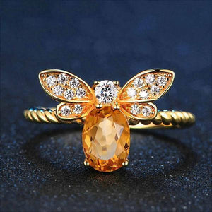 Bee Citrine Ring - 925 Sterling Silver - atperry's healing crystals