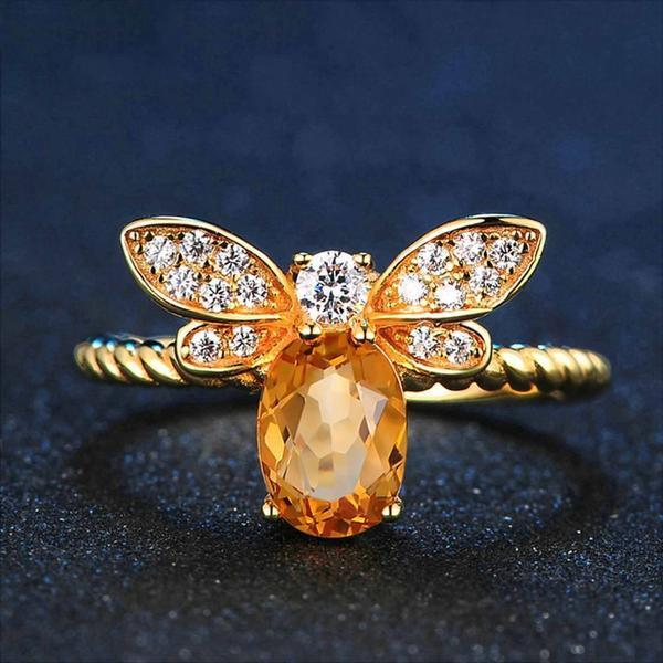 Bee Citrine Ring - 925 Sterling Silver