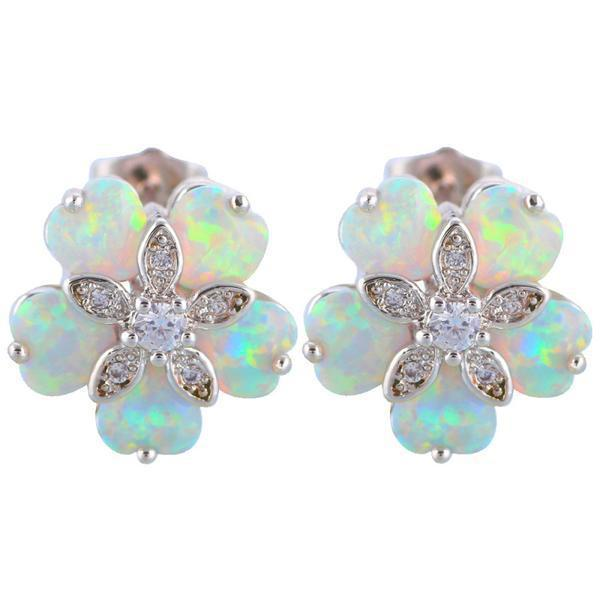 helix products cartilage stud earring grande tragus piercing white fire opal
