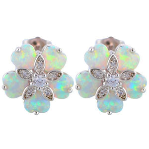 Flower White Fire Opal Stud EarringsEarrings