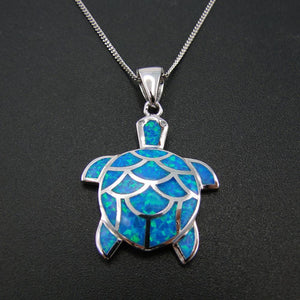 Sterling Silver Sea Turtle Blue Fire Opal Pendant - AtPerry's Healing Crystals™