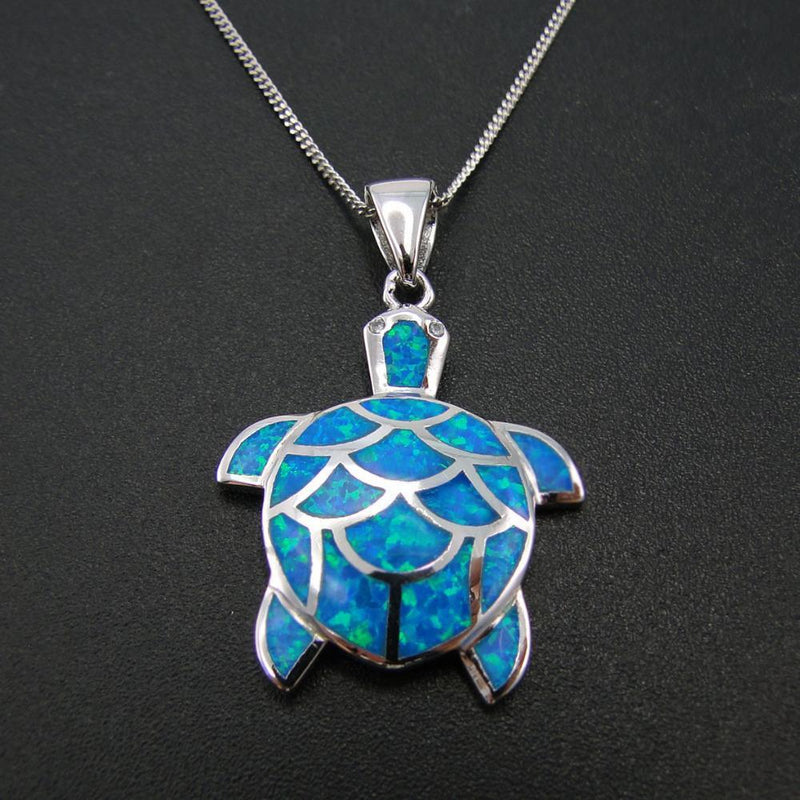 Sterling Silver Sea Turtle Blue Fire Opal Pendant - atperry's healing crystals