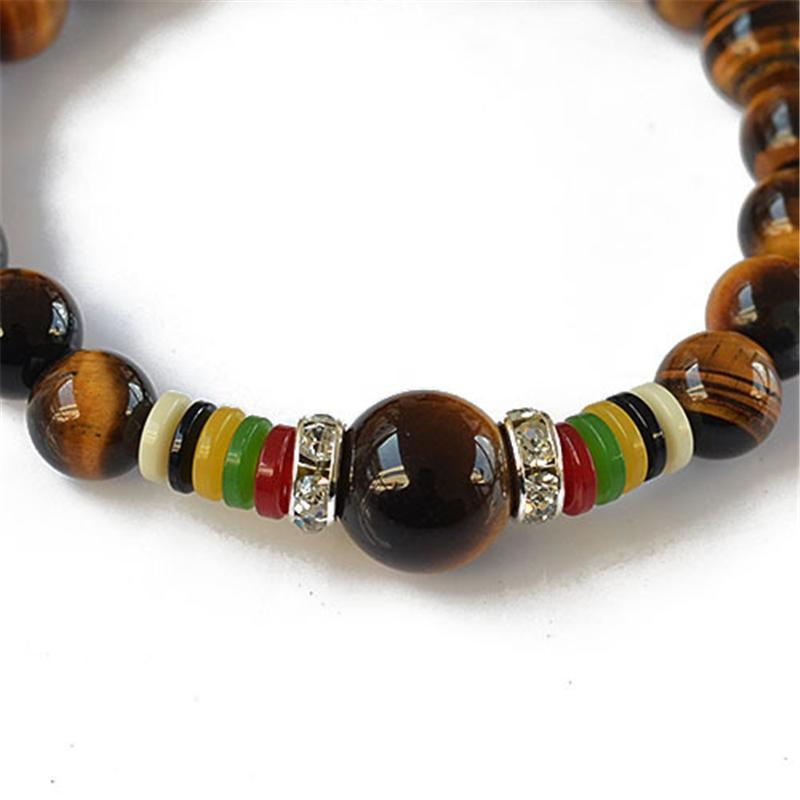Natural Tiger Eye Lucky Stone Mantra Prayer Beads Bracelet - AtPerry's Healing Crystals™