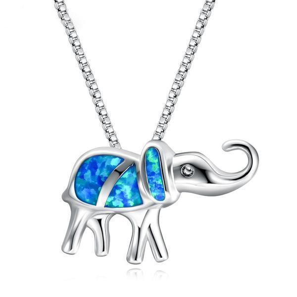 Elephant Blue Fire Opal Necklace - 925 Sterling Silver - atperry's healing crystals