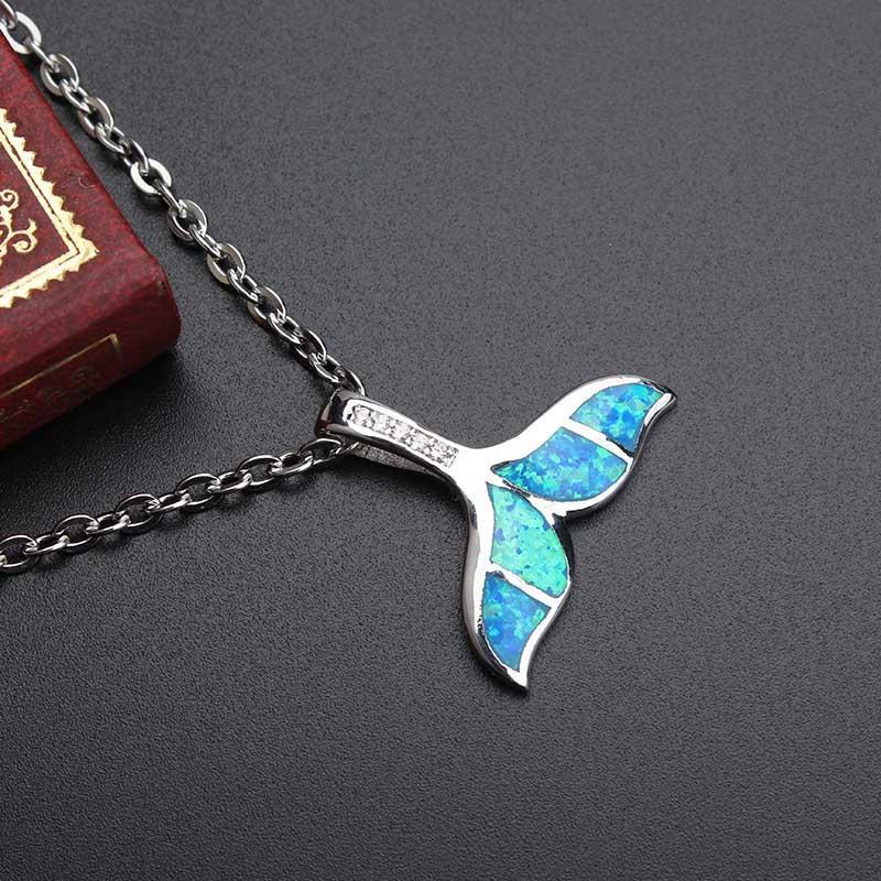 Blue Fire Opal Shark Tail Necklace - AtPerry's Healing Crystals™