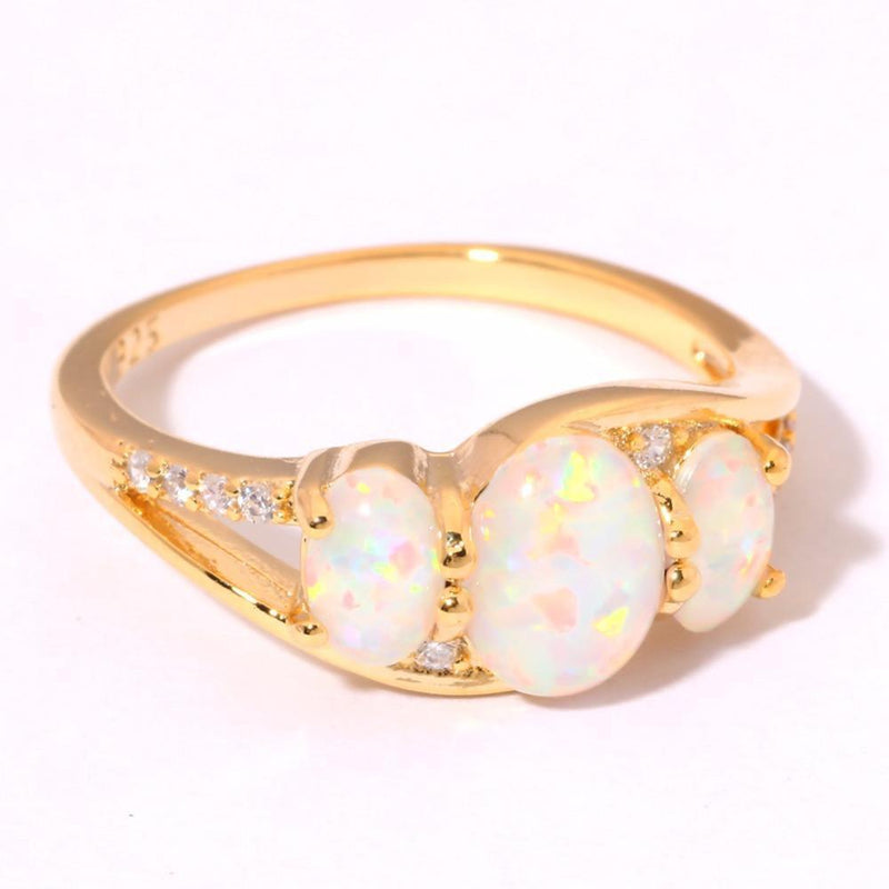 White Fire Opal Gold Ring - AtPerry's Healing Crystals™