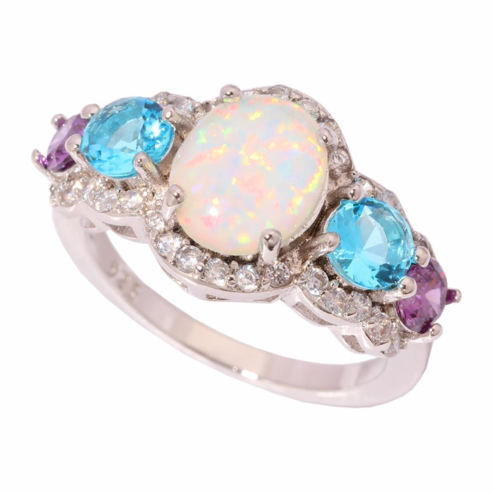White Fire Opal Blue Purple Silver Ring