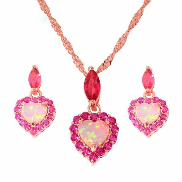 Pink Fire Opal - Necklace Earrings Set
