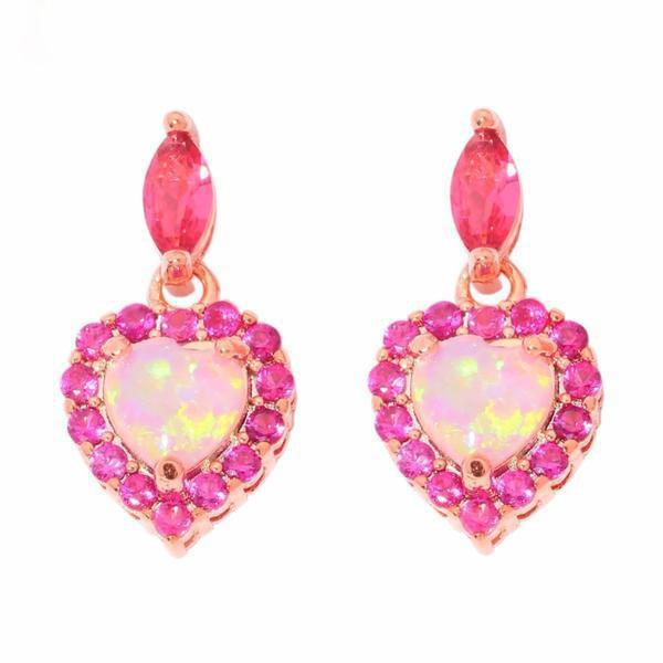 Pink Fire Opal Rose Gold Earrings
