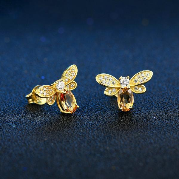Citrine Bee Stud Earrings - 925 Sterling Silver - AtPerry's Healing Crystals™