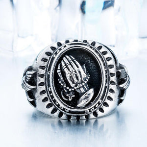 Hand Of God Men Ring - Stainless Titanium Steel - AtPerry's Healing Crystals™