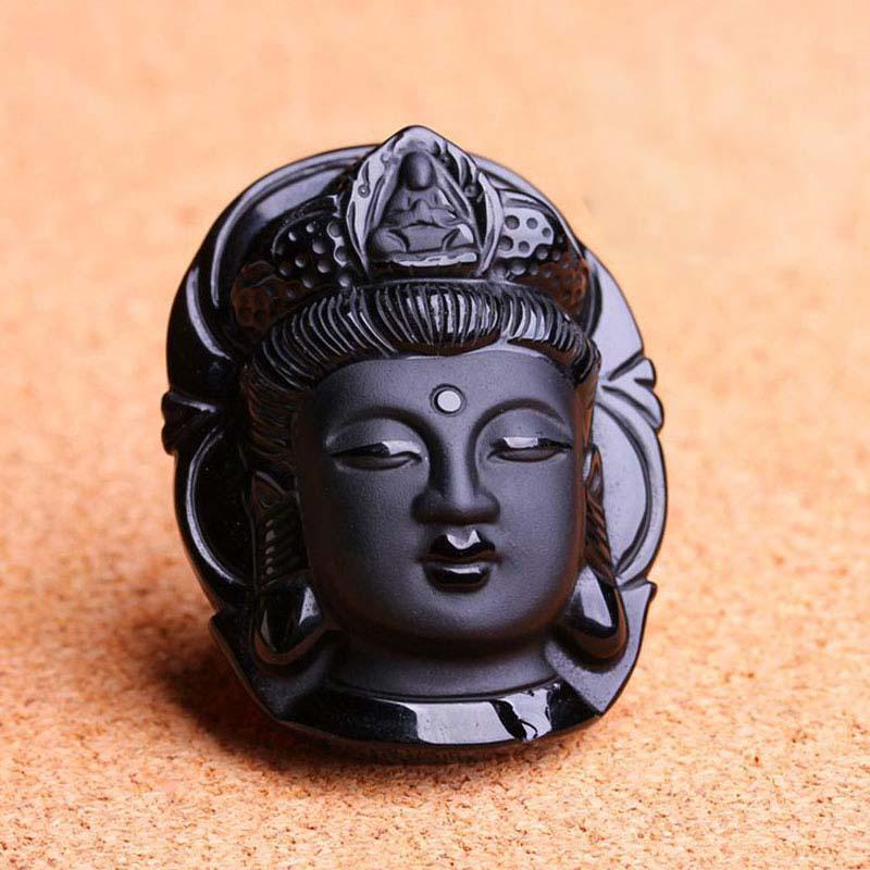Buddha Guanyin Head Obsidian Pendant - AtPerry's Healing Crystals™