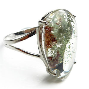 Natural Green Phantom Quartz Ring - 925 Sterling Silver - atperry's healing crystals