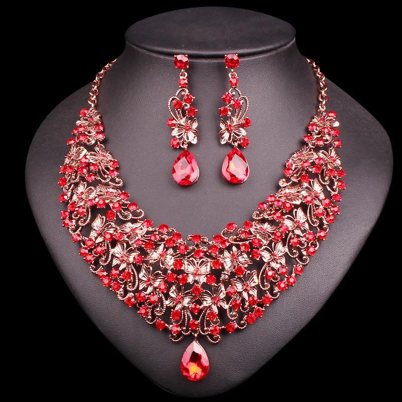 bridesmaid ruby zirconia hot jewelry necklace wedding pink desirez products cubic rp bridal little swarovski teardrop fuchsia