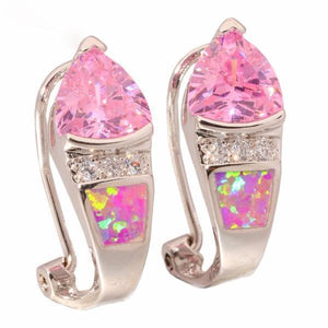 Pink Fire Opal Pink Silver Plated Earrings - AtPerry's Healing Crystals™