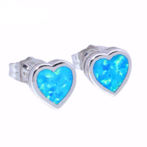 Elegant Fire Opal Heart Stud Earrings - AtPerry's Healing Crystals™