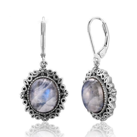 Moonstone Drop Earrings - 925 Sterling Silver - AtPerry's Healing Crystals™