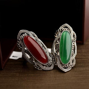 Classic Antique in Vintage Design Ruby & Emerald Oval Fashionable Ring - AtPerry's Healing Crystals™
