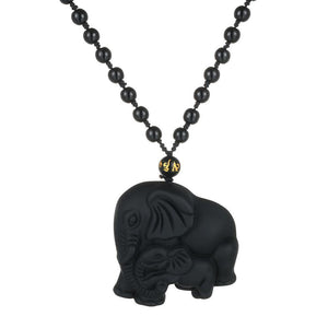 Mother & Baby Elephant Necklace - Handmade Beads Obsidian - AtPerry's Healing Crystals™