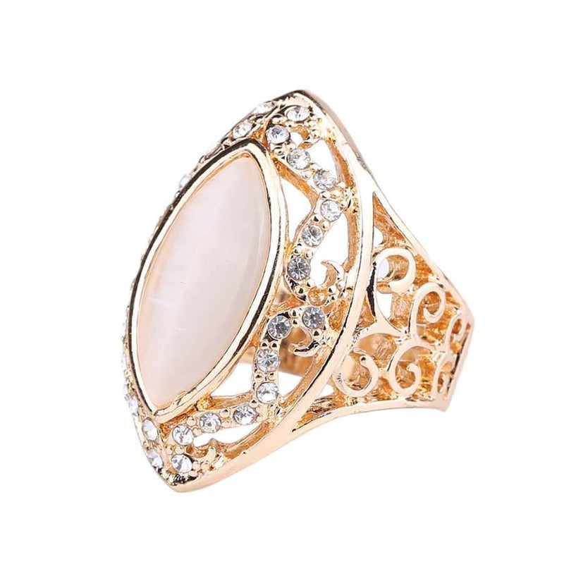 Retro Fashion Lace Hollow Horse Eye Ancient Roman Empress Opal Ring - atperry's healing crystals