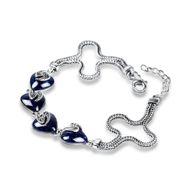 Heart Sapphire Bracelet - Sterling Silver 925 - AtPerry's Healing Crystals™
