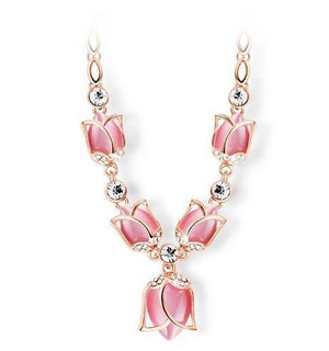 White & Pink Opal Rhinestone Tulips Necklace - atperry's healing crystals