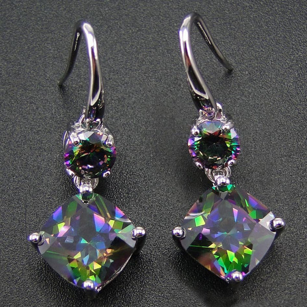 Rainbow Mystic Topaz Drop Earrings - 925 Sterling Silver - AtPerry's Healing Crystals™