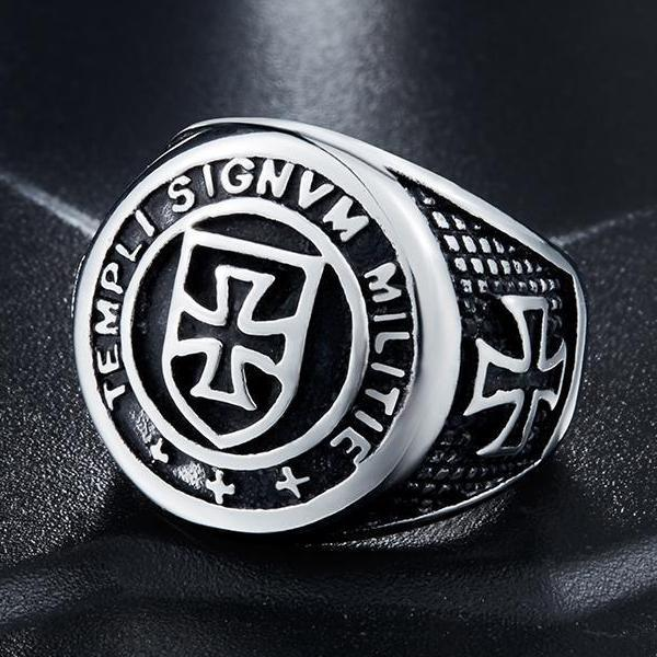 Cross Knights Templars Ring - Silver/Gold for Men - atperry's healing crystals