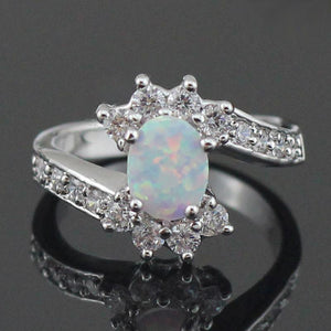 Original White and Blue Fire Opal RingRing6White Fire Opal