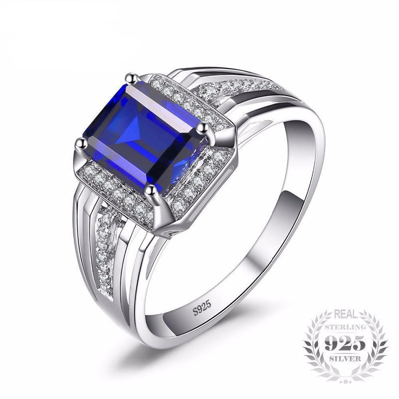 Genuine 925 Sterling Sliver Blue Sapphire Ring For MenRing7