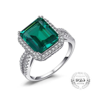 5.5ct Emerald Ring - 925 Sterling Silver - AtPerry's Healing Crystals™
