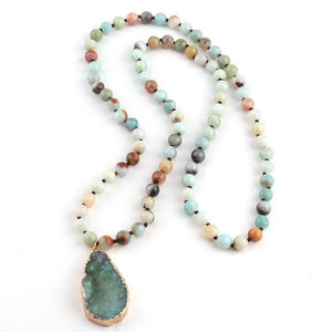 Natural Amazonite Long Necklace - atperry's healing crystals