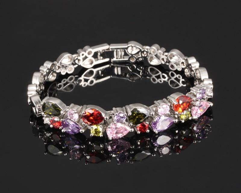 Multicolor Platinum Plated Bracelet   AtPerrys Healing Crystals   1