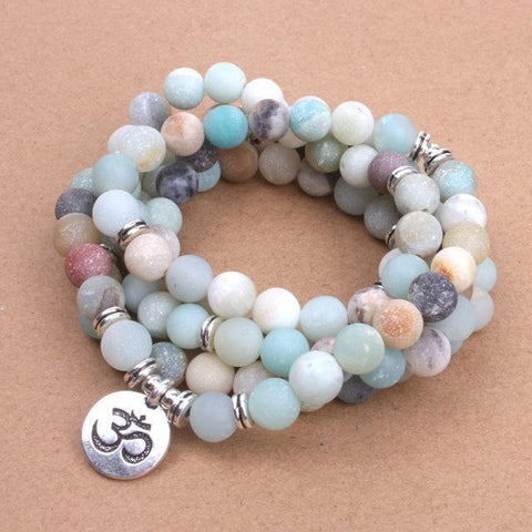 Frosted Amazonite Mala (with OM, Lotus or Buddha Pendant)