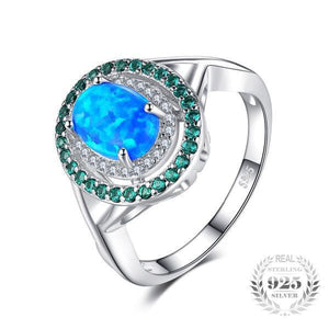Blue Fire Opal & Emerald Ring - 925 Sterling Silver - AtPerry's Healing Crystals™