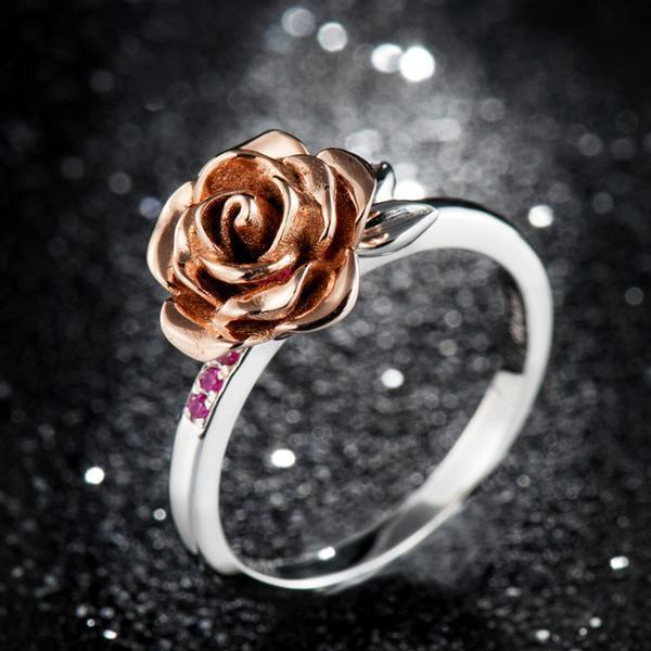 Rose Flower Natural Ruby Ring - 925 Sterling Silver