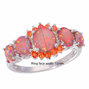 Mexican Fire Opal Garnet Silver Ring - AtPerry's Healing Crystals™