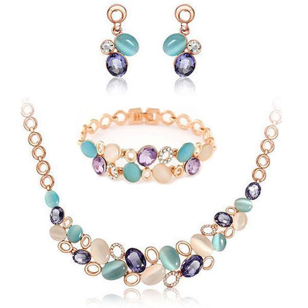Rose Gold Crystal Rhinestone Faux Cat's Eye Stone Earrings & Necklace Jewelry Set - AtPerry's Healing Crystals™