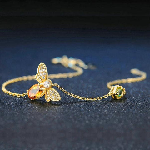 Bee Citrine Charm Bracelet - 925 Sterling Silver - AtPerry's Healing Crystals™