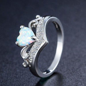 Heart White Fire Opal Silver Ring - AtPerry's Healing Crystals™