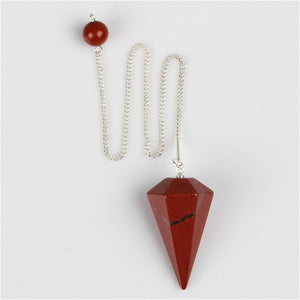 Natural Red Jasper Silver Chain Pendant