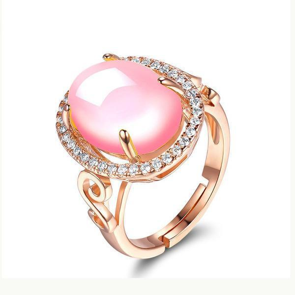 Resize-able Rose Quartz Pink Ring - atperry's healing crystals