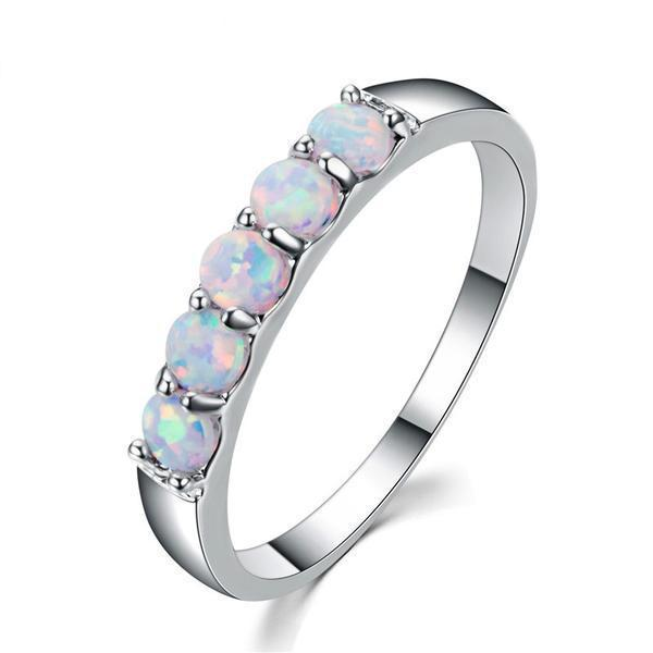 White Fire Opal 5 Stone Ring - 925 Sterling Silver