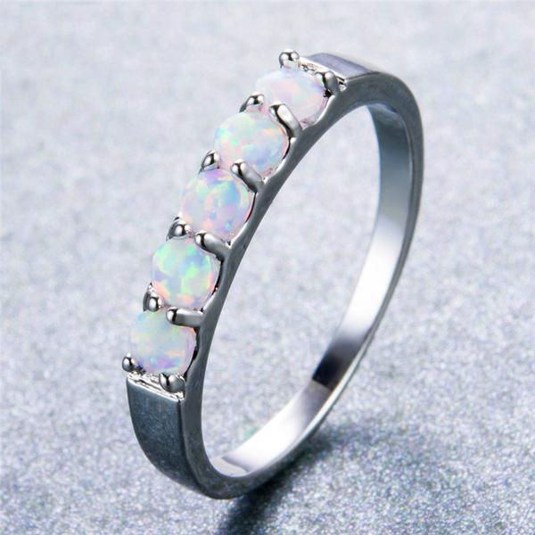 White Fire Opal 5 Stone Ring - 925 Sterling Silver - atperry's healing crystals
