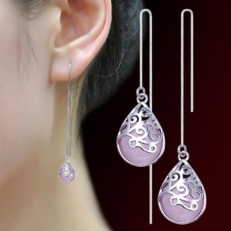 Fashionable Pink Opal Long Tassel Silver Earrings - AtPerry's Healing Crystals™