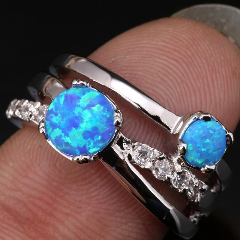 Blue Fire Opal 2 Stone 925 Silver Ring