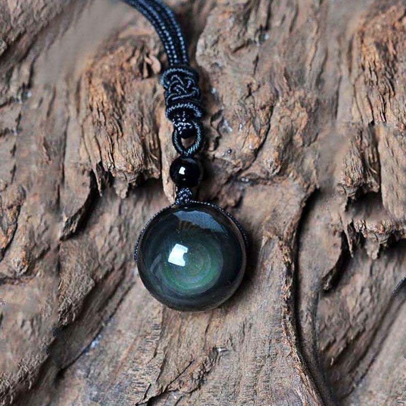 Natural Obsidian Rainbow Eye Transfer Good Luck Bead Pendant Polyester Rope Chain Necklace