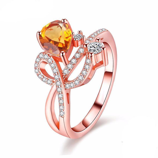 1.3ct Citrine Rose Gold Color Elegant Ring (RESIZABLE) - AtPerry's Healing Crystals™