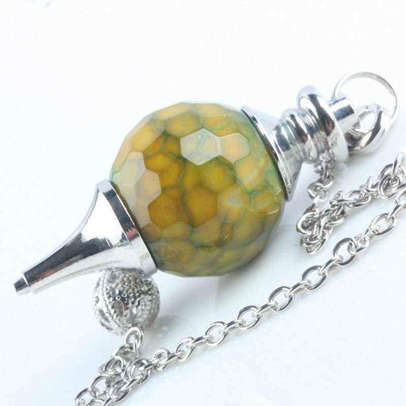 Dragon Veins Gem Stone Pendulum Healing Dowsing Reiki Chakra and Chain